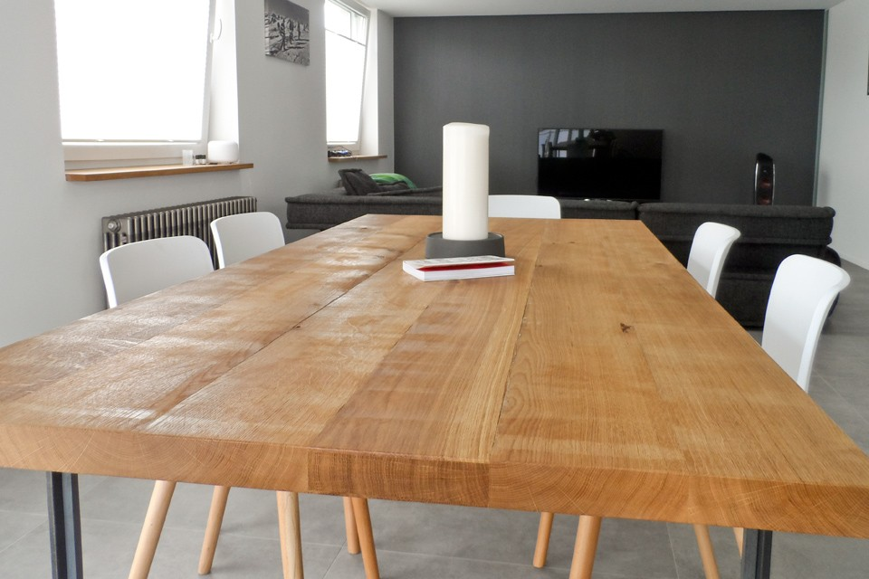 Stół Z Litego Drewna Dębowego Industrialny Design